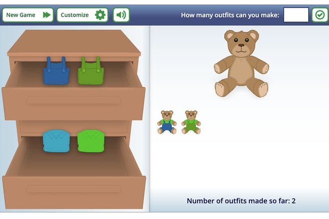 Bobbie bear maths game showing chest of drawers with four pieces of clothing to dress Bobbie with