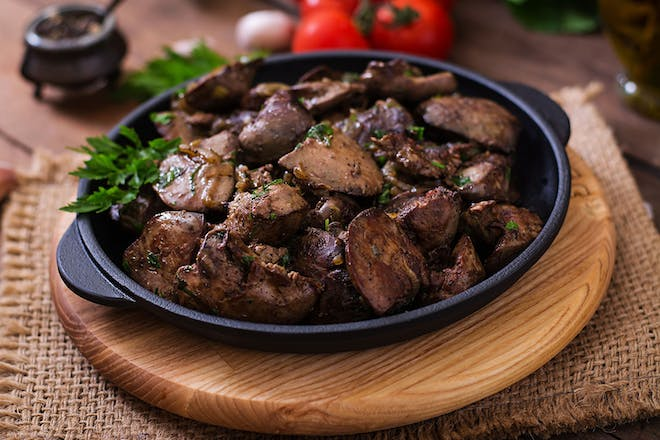 dish of cooked chicken liver