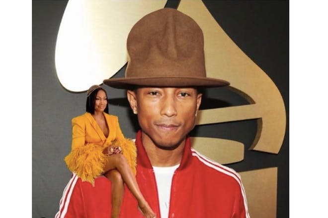 Garcelle Beauvais photoshopped on the shoulder of Pharrell Williams
