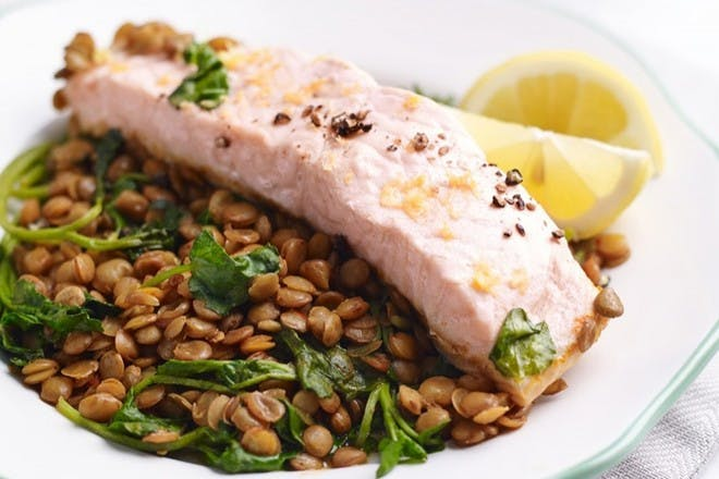 Chilli salmon with watercress and lentils