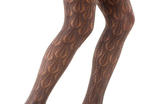 Brown crochet tights