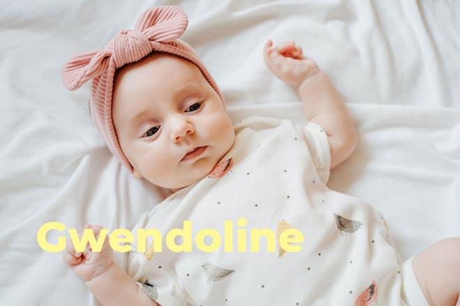 Baby wearing pink headband. Name Gwendoline written in text