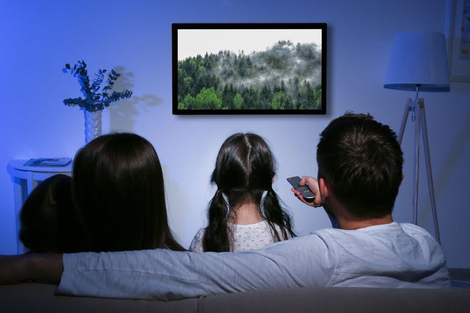 Family sitting on sofa watching a nature documentary