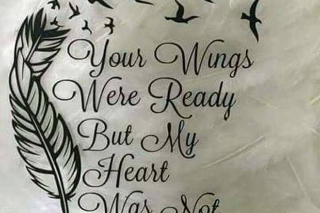 Miscarriage tattoo reading Your Wings Were Ready But My Heart Was Not