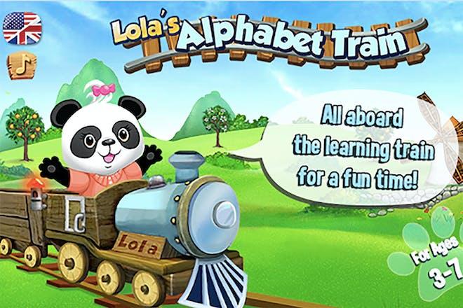 Screen shot from Lola's alphabet train showing a panda on a train