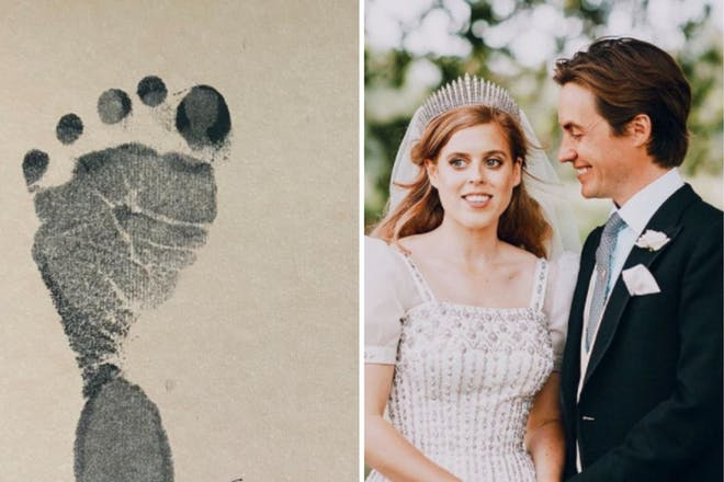 Left: Baby footprintRight: Married couple