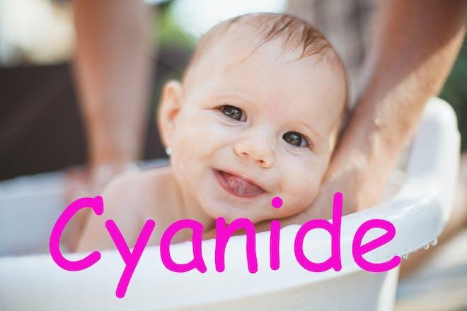 Baby in a bath. name Cyanide written in text