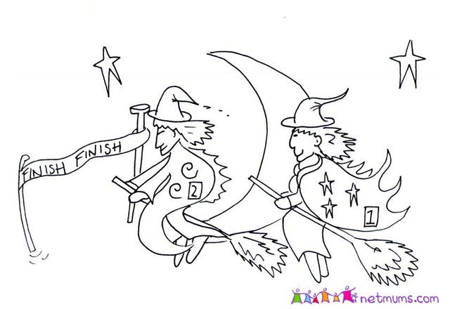 Halloween colouring page of witches on broomsticks