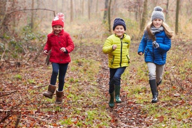 children running in woods