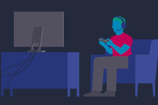 illustration of man gaming on computer