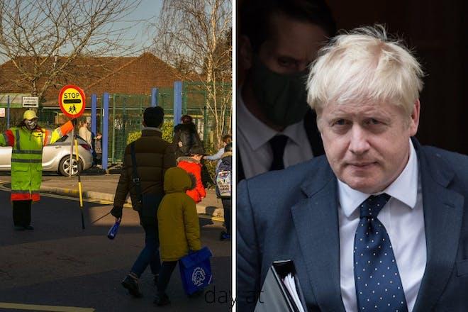 Left: school children on school runRight: Man in suit