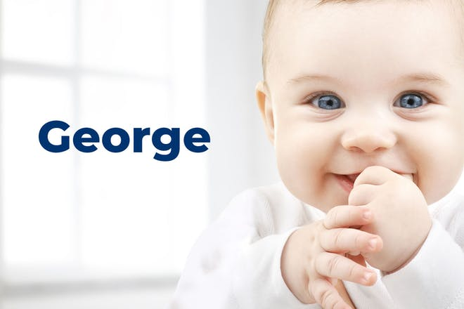Baby chewing thumb. Name George written in text