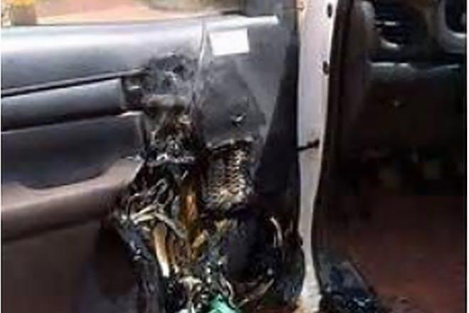 Vehicle burnt by hand sanitiser