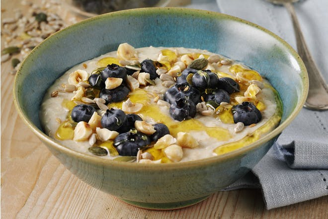 Blueberry and hazelnut porridge