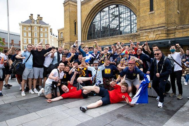 Group of men cheering