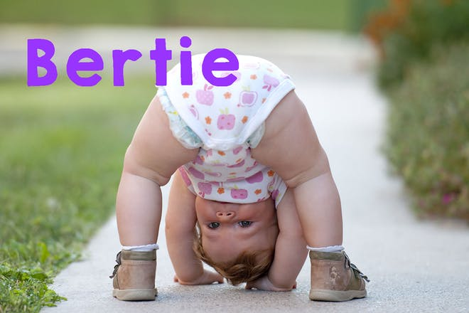 Baby bending over and looking between legs. text says Berties