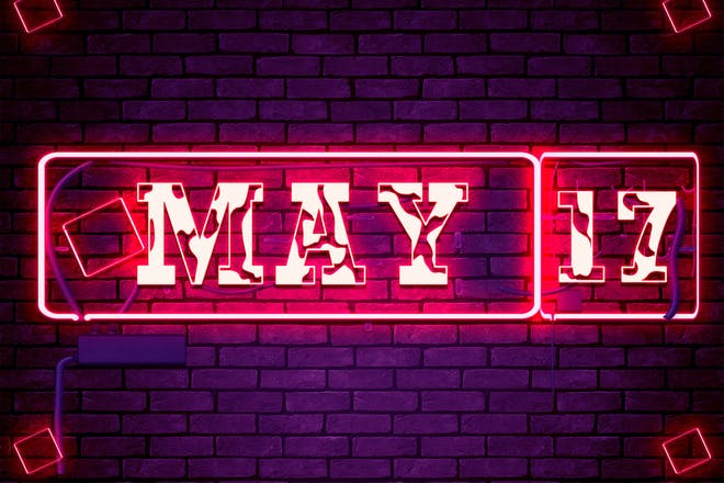 Neon sign showing May 17