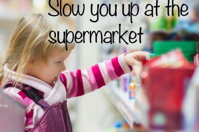 little girl in the supermarket