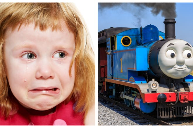 scared girl crying / thomas the tank engine