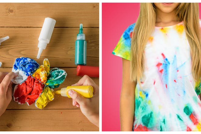 Two images. one showing child applying die to a scrunched up t-shirt, one showing young girl wearing the tie-dyed t-shirt