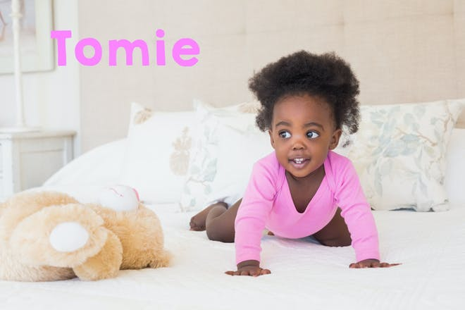 Baby girl crawling