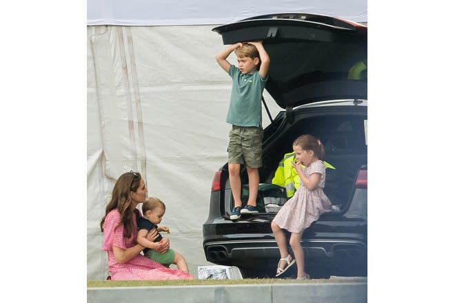 Prince George, Princess Charlotte, Prince Louis and Kate Middleton at the polo in July 2019