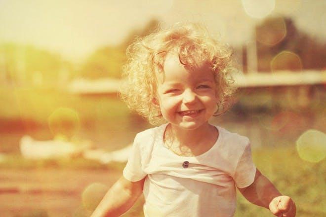 happy child in field