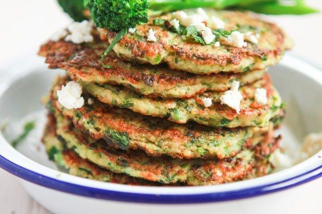 Couscous savoury pancakes with Tenderstem broccoli recipe