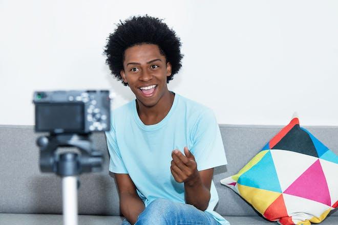 teenage boy vlogging