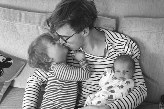 Tom Fletcher kissing son Buzz
