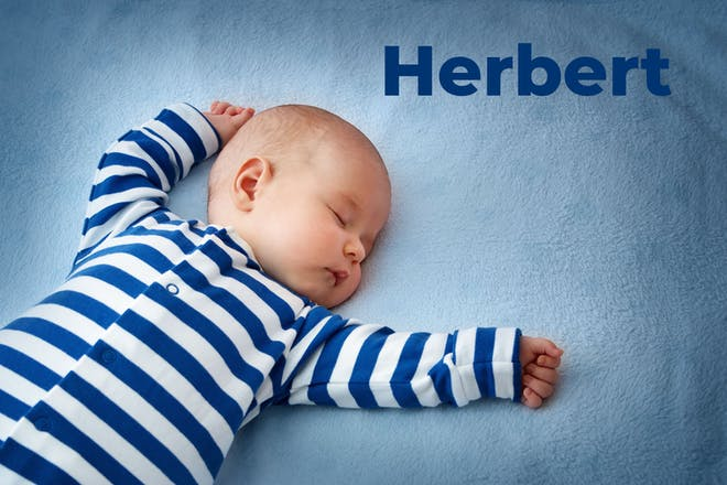 Baby in blue and white striped babygro sleeping on blue blanket. Name Herbert written in text