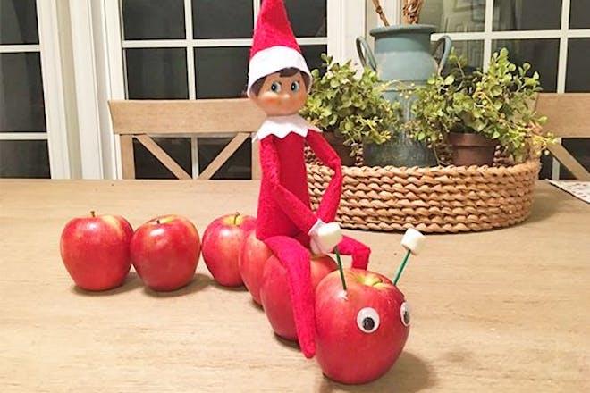 54. Elf on an apple caterpillar