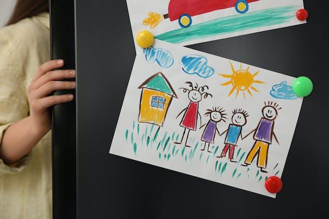 Child's art on fridge