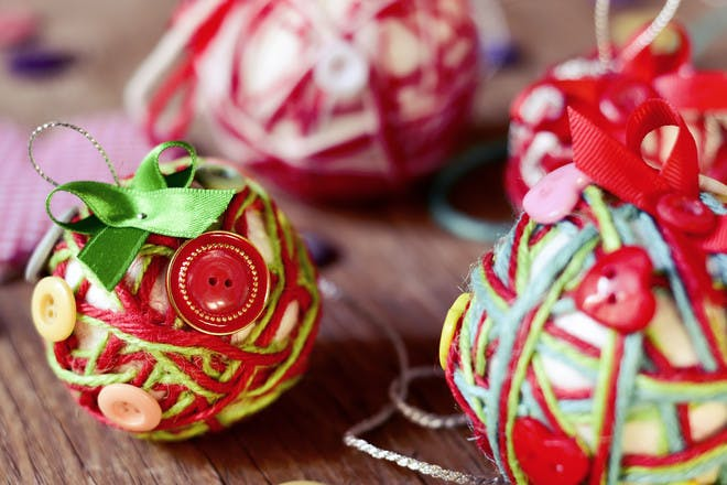 christmas baubles decorated with buttons