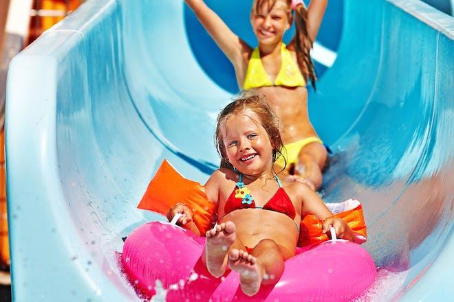 Girls on water slide