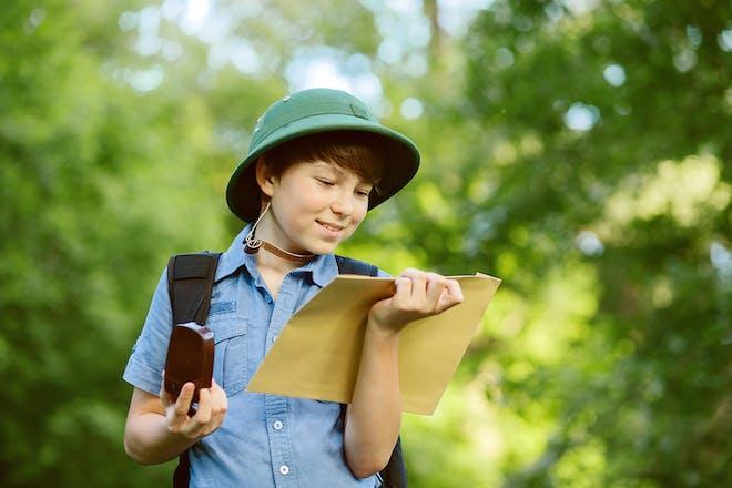 Boy with treasure map