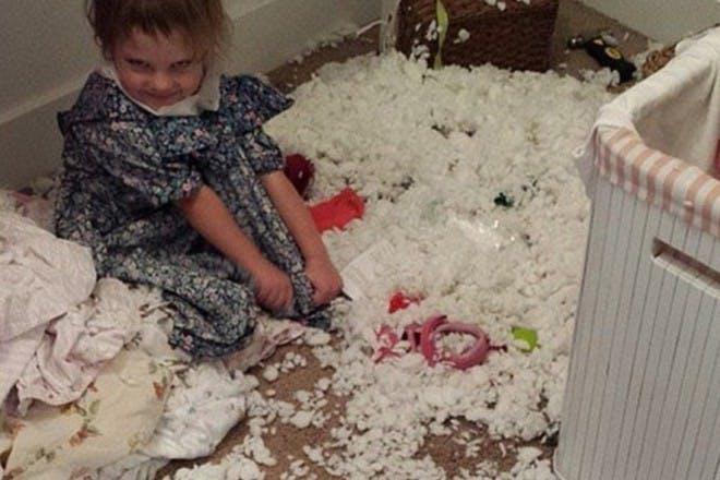 naughty girl sitting in mess