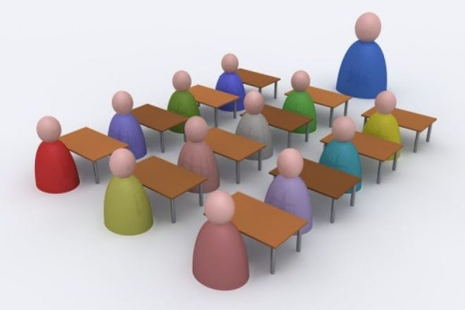 illustration of teacher and children in classroom