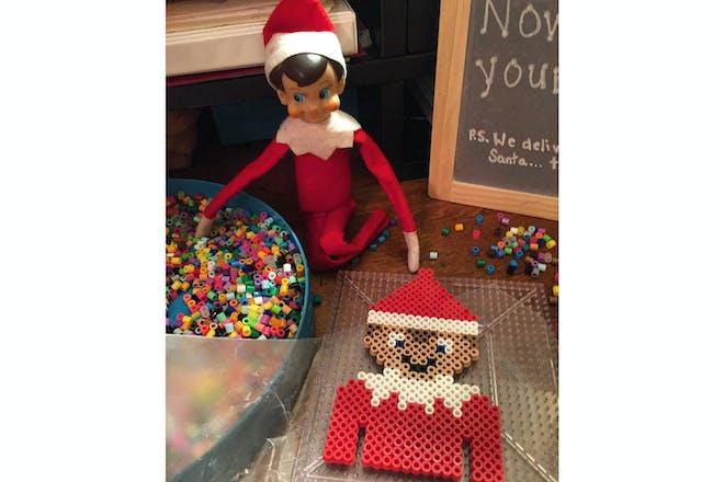 crafty elf on the shelf using Hama beads