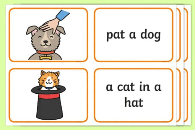 Words containing cards showing pictures and words that match