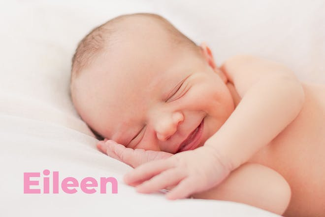 Laughing baby. Name Eileen written in text
