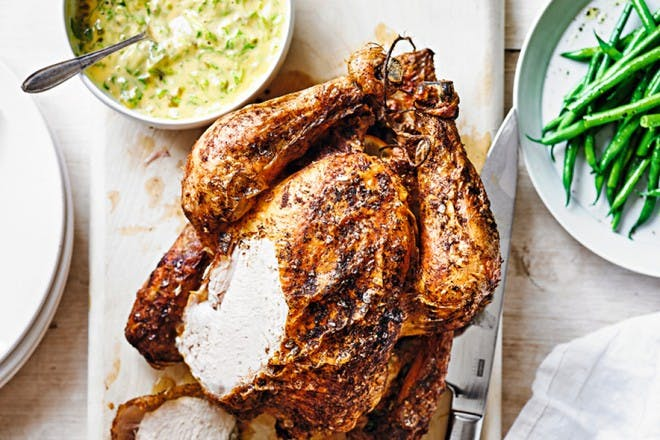 roast chicken with watercress and ginger mayo