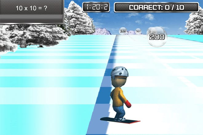 maths game showing snowboarder boarding down an icy slope