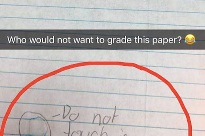 Kids' note at bottom of exam paper