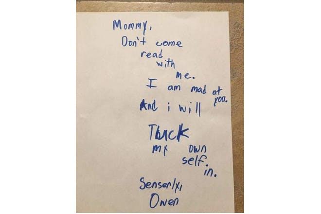 boys note to mum