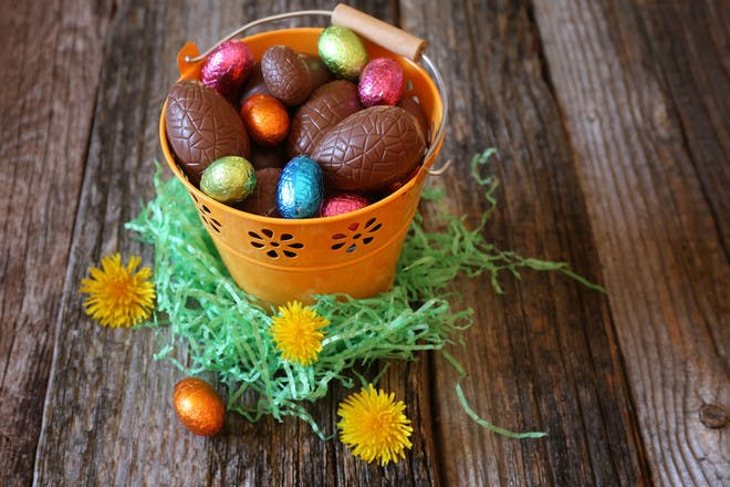 Bucket of Easter eggs