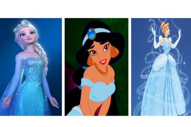female Disney characters dressed in blue