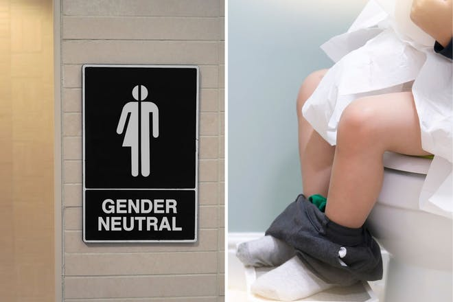 Left: Gender neutral signRight: Boy on the toilet