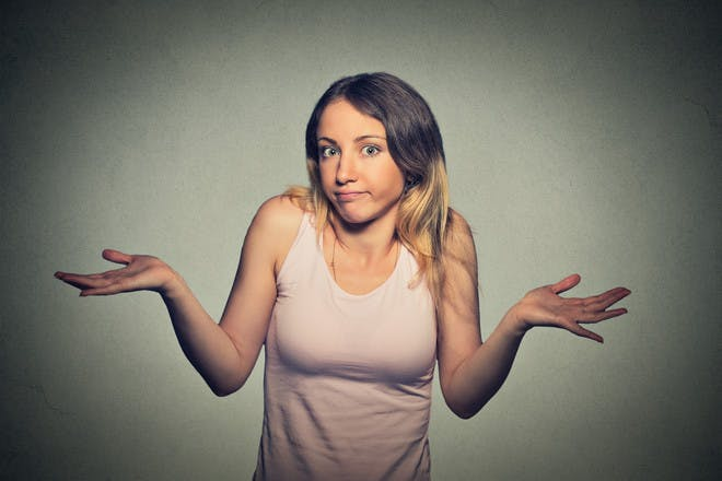 Woman shrugging