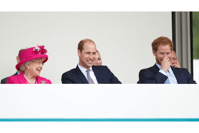 The Queen with Prince William and Prince Harry